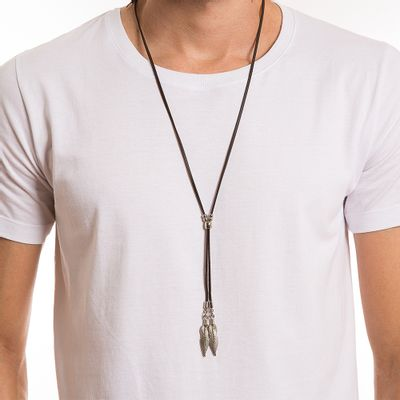 key-design-acessorio-masculino-colar-double-feather-silver-brown-corpo