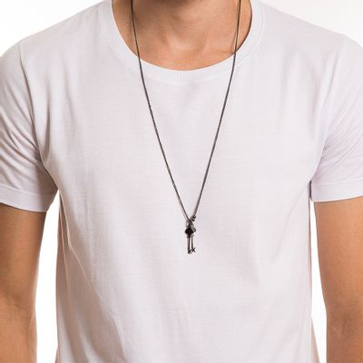 key-design-acessorio-masculino-colar-double-key-chain-corpo