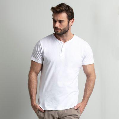 camiseta-masculina-henley-branca-4-botoes-key-design